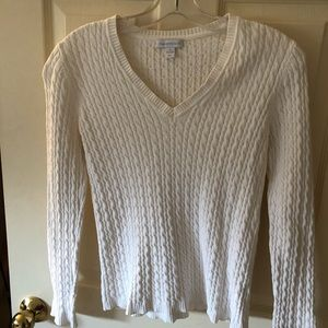 White v neck Charter Club cable knit sweater